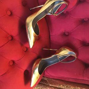 Gold ankle strap stilettos size fits like 9.5